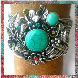 Jewelry - Turquoise & Floral Boho Cuff